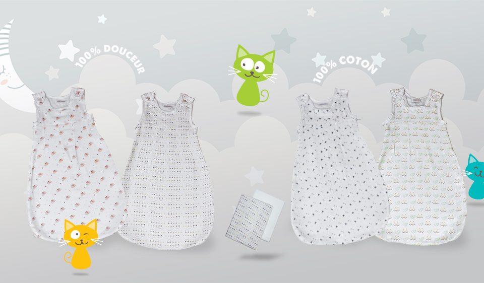 gigoteuse en mousseline de coton pour bébé garçon et bébé fille par Les Chatounets, spécialiste des vêtements pour bébé.