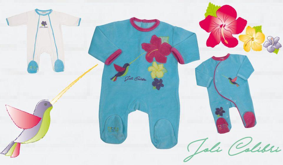 pyjama en velours bébé par Les Chatounets, spécialistes des pyjamas pour bébé de 00 à 24 mois